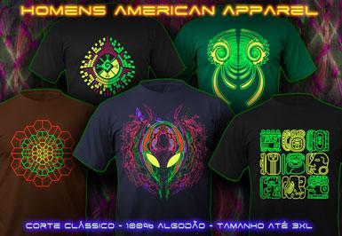 psywear604 american apparel t-shirts para homens